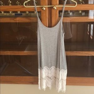 Gray tank with lace bottom